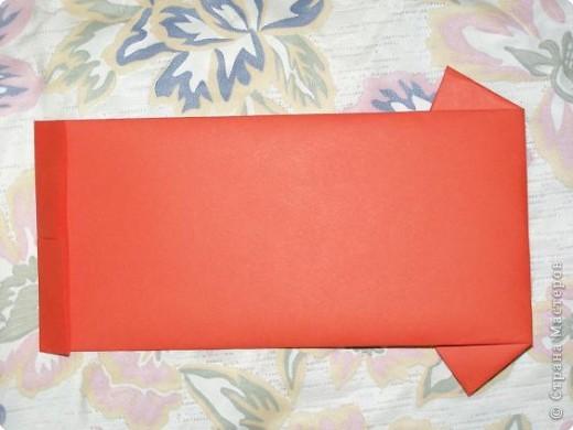Вот такую открытку-конверт предлагаю вам сделать(купюра в комплект не входит).Понадобится лист цветной бумаги. фото 6