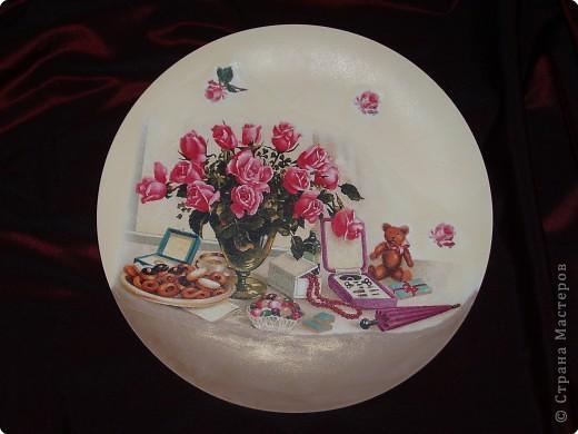 Керамическая тарелочка на подставке и железный поднос. фото 2