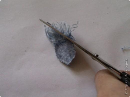 Вырезание: Цветок из джинса №2+МК фото 6