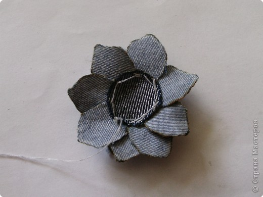 Вырезание: Цветок из джинса №2+МК фото 12