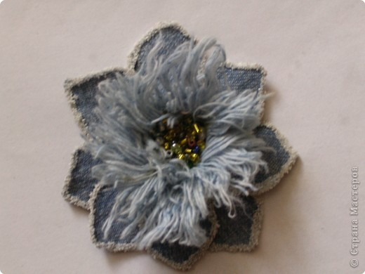 Вырезание: Цветок из джинса №2+МК фото 20