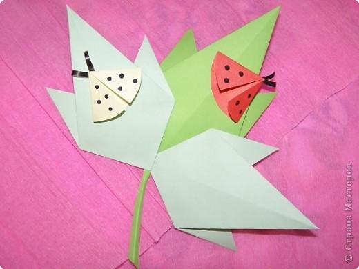 Оригами: Кленовый листок с букашками МК фото 9