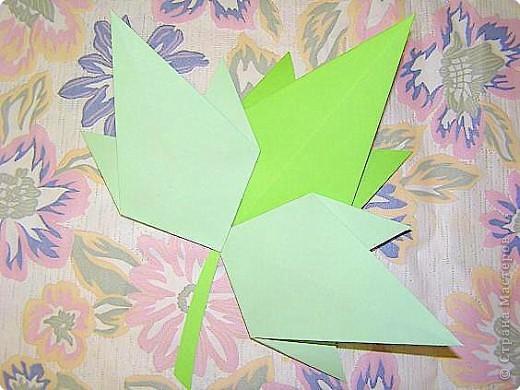 Оригами: Кленовый листок с букашками МК фото 8