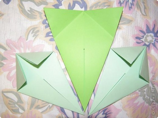Оригами: Кленовый листок с букашками МК фото 5