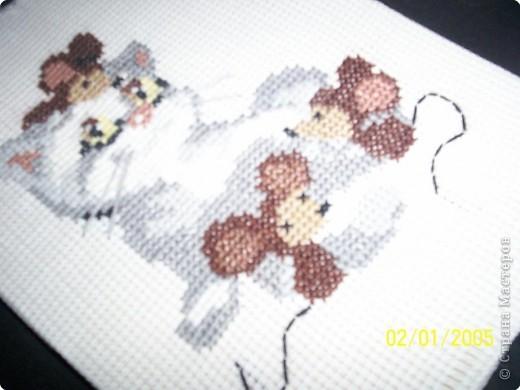 Милая киса с мышатами. Вышивается очень просто и быстро, под силу даже начинающим рукодельницам. фото 2