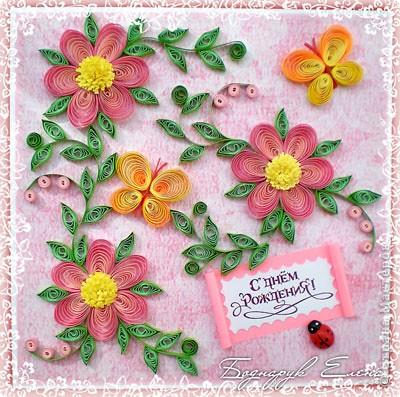 """Квиллинг: Открытка """"Летние цветы"""" - 2"""