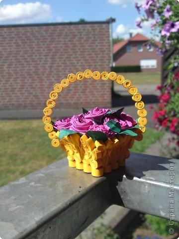 Квиллинг: Корзиночка с розами фото 1