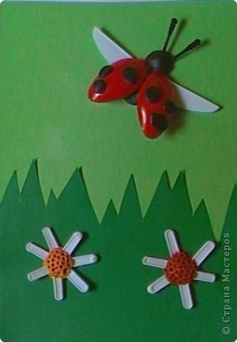 """Работа Елены Базаровой """"Подснежники"""" ( http://stranamasterov.ru/node/54446 ) натолкнула меня на идеи творения из пластиковой одноразовой посуды. Вот что у нас с сыночком получилось. Эту картинку мы назвали """"Божья коровка, лети на небо..."""" Очень хотелось сделать летящего жучка.   фото 1"""