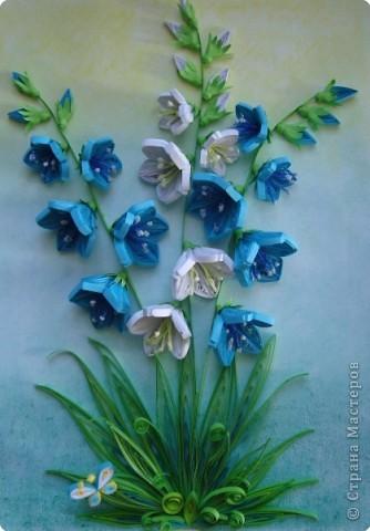 Картина панно рисунок День матери День рождения День учителя Квиллинг Колокольчики мои цветики степные  Бумажные полосы фото 1