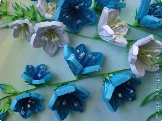 Картина панно рисунок День матери День рождения День учителя Квиллинг Колокольчики мои цветики степные  Бумажные полосы фото 4