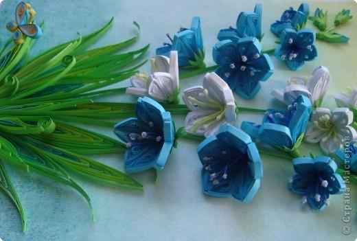 Картина панно рисунок День матери День рождения День учителя Квиллинг Колокольчики мои цветики степные  Бумажные полосы фото 5