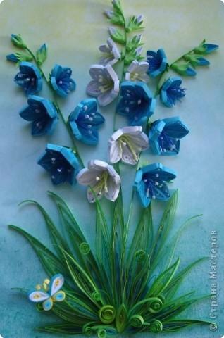Картина панно рисунок День матери День рождения День учителя Квиллинг Колокольчики мои цветики степные  Бумажные полосы фото 2