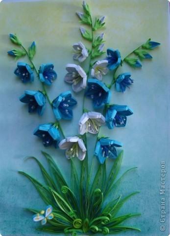 Картина панно рисунок День матери День рождения День учителя Квиллинг Колокольчики мои цветики степные  Бумажные полосы фото 6