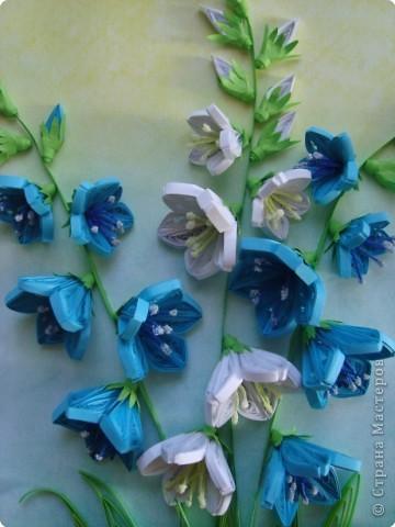 Картина панно рисунок День матери День рождения День учителя Квиллинг Колокольчики мои цветики степные  Бумажные полосы фото 3