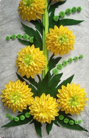 """Долго я думала как собрать цветы в форме шара.Думала я думала и наконец придумала! Но об этом чуть ниже.Решила я опробовать своё """" изобретение"""" на цветке золотой шар, научное название РУДБЕКИЯ. фото 2"""