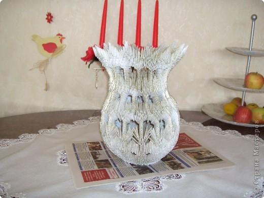Вот такая получилась ваза с цветами, ромашки получились объёмные, стебелёк не выдержал, нужно переделывать. И фото тоже не очень получилось. фото 2