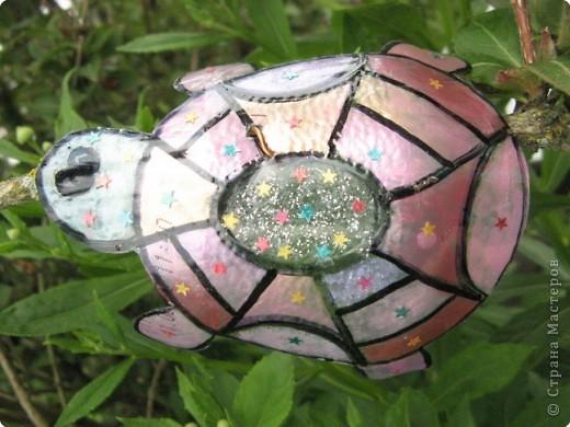 Мы благодарны всем мастерицам, которые привнесли в Страну идею поделок-бабочек  из пластиковых бутылок. Вот это наша живность :-). Это черепашка.