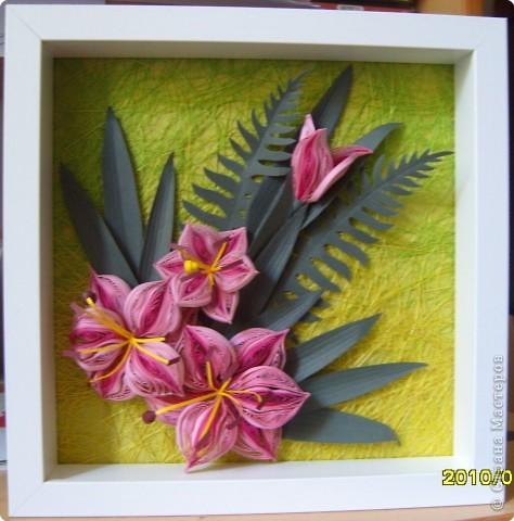 Картина панно рисунок Квиллинг Букет невесты Бумажные полосы фото 4