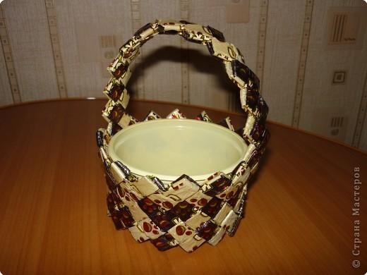 Как сделать корзинку из фантиков от конфет своими руками пошагово