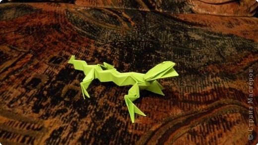 Оригами ящерица и лягушка