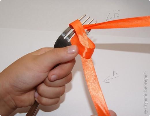 Хочу показать как завязать маленький супер аккуратный бантик с помощью обычной вилки. Для этого берем вилку в левую руку, а отрез ленточки в правую. Конец А - не рабочий, конец Б - рабочий. фото 6