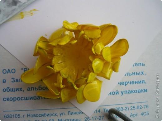 Вот такие цветочки сделала на днях из пластиковых бутылок. фото 10