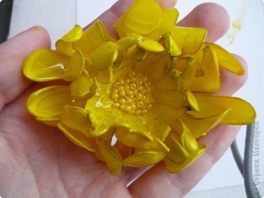 Вот такие цветочки сделала на днях из пластиковых бутылок. фото 11