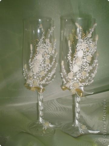 """Лепка: Свадебные бокалы №3 """"Нежность золота"""" фото 2"""