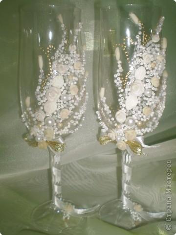 """Лепка: Свадебные бокалы №3 """"Нежность золота"""" фото 1"""