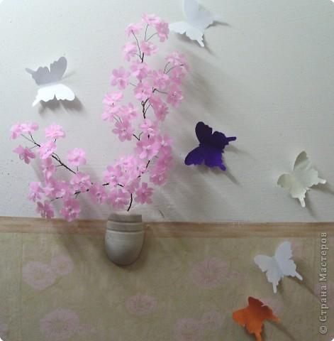 Веточка сакура из гофрированной бумаги фото 7