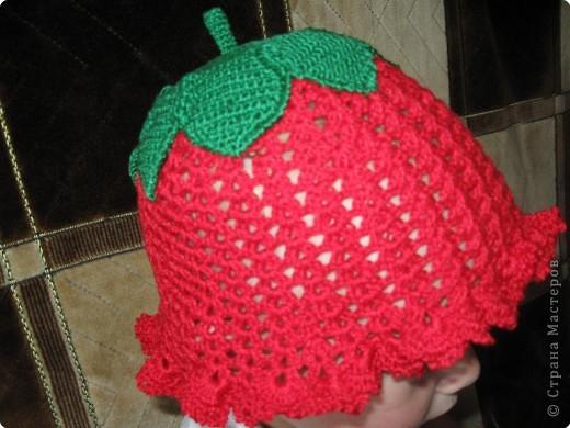 """шапочка связана из ниток """"ирис"""". часть из зеленых ниток вяжется отдельно, затем пришивается."""
