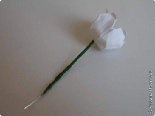 На цветочек я взяла квадрат стороной 5см, но ландыш получился большой, поэтому лучше выбрать сторону поменьше, например 4-3см, но для этого нужна тоненькая белая бумага фото 29