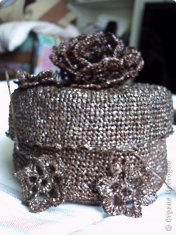 Вязание крючком: Шкатулка крючком.Вязание из необычного материала фото 1