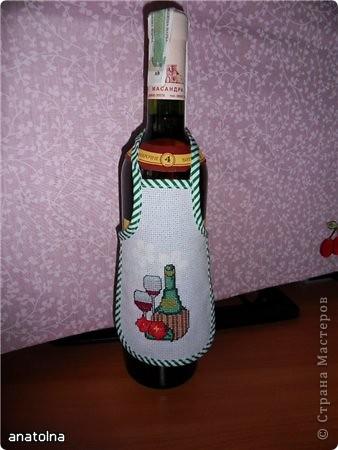 Вышивка Фартуки на бутылку
