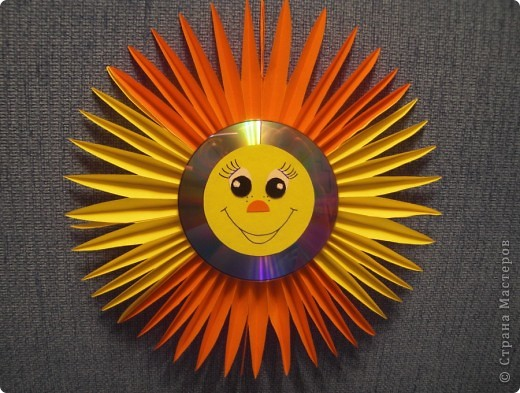 Солнышко из дисков своими руками