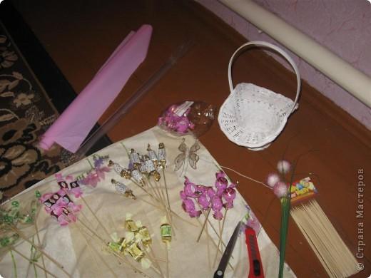 Моя первая корзинка из...конфет. Идея и техника выполнения взята из работ мастериц сайта.  фото 2