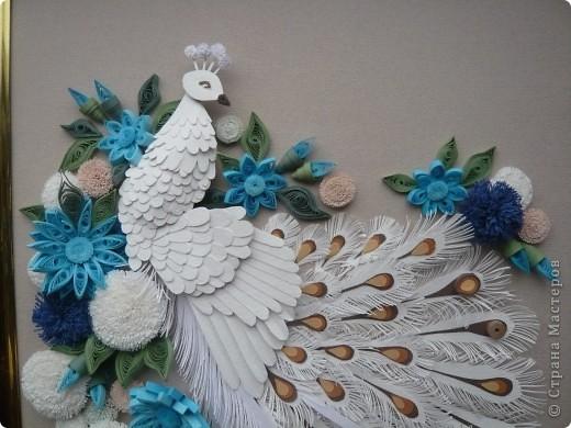 Вдохновленная увиденными в Стране Мастеров работами  Юлены, Ольги Ольшак и других мастериц  сделала подобного павлина. Совместила две техники - бумагопластику и квиллинг. Очень понравилось делать птичку, а с цветами кажется переборщила фото 2