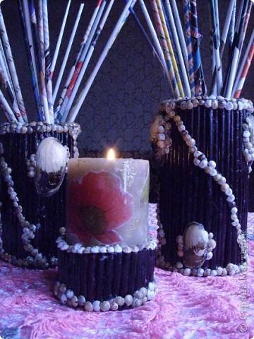 Материалы-баночки  из под кофе или др.,газетные трубочки, ракушки,клей ТИТАН фото 2