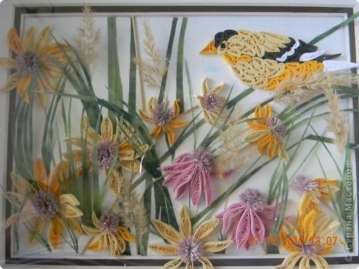 Эта работа - память об ушедшем лете. Сделала ее за неделю, будучи в отпуске. Цветы и птица - квиллинг. Трава - бумага ханди. Немного сухоцветов. фото 5