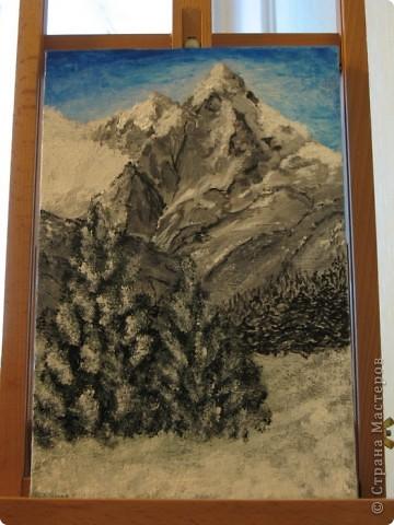 Очень люблю рисовать горы. Акрил на картоне 30х50 фото 3