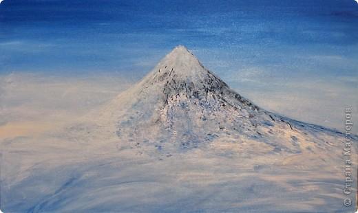 Очень люблю рисовать горы. Акрил на картоне 30х50 фото 1