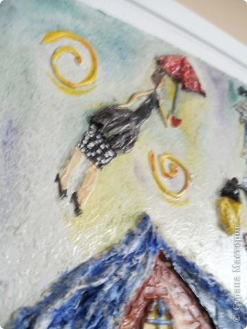 Работы выполнены из обычной  финишной шпаклевки (уже готовой). Выполняются различные рельефности по поверхности (чем угодно, насколько хватит фантазии) после высыхания красятся гуашью и покрываются бесцветным мебельным лаком. Такие панно можно выполнять прямо на стене. фото 12