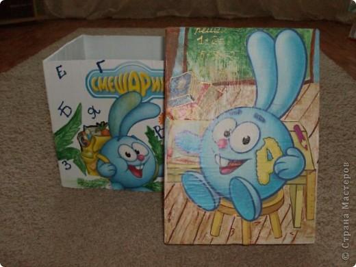 Коробка из- под офисной бумаги, герои вырезаны из журнала.. остальное все дорисовала. фото 1