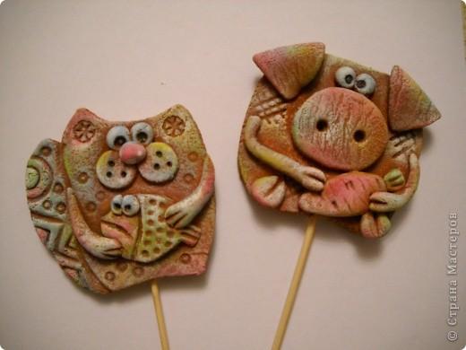 Это мои украшения для цветочных горшочков на шпажках. фото 1
