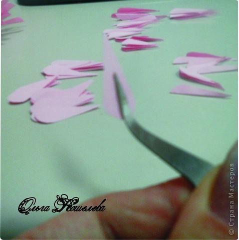Картина панно рисунок Мастер-класс Квиллинг Розовая композиция и mini МК Картон фото 7