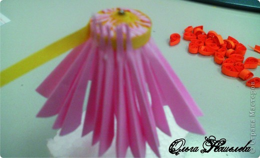 Картина панно рисунок Мастер-класс Квиллинг Розовая композиция и mini МК Картон фото 10
