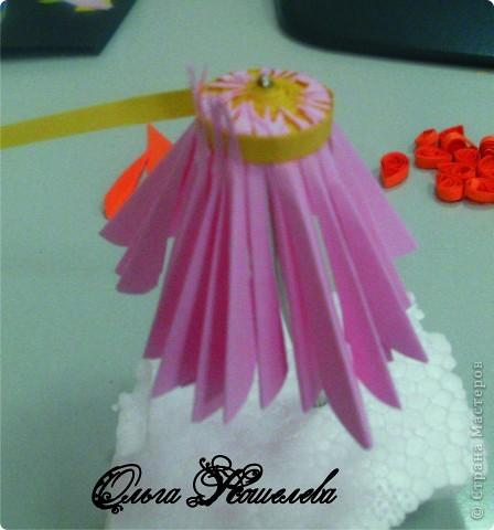Картина панно рисунок Мастер-класс Квиллинг Розовая композиция и mini МК Картон фото 11