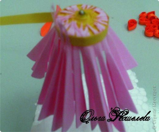 Картина панно рисунок Мастер-класс Квиллинг Розовая композиция и mini МК Картон фото 12