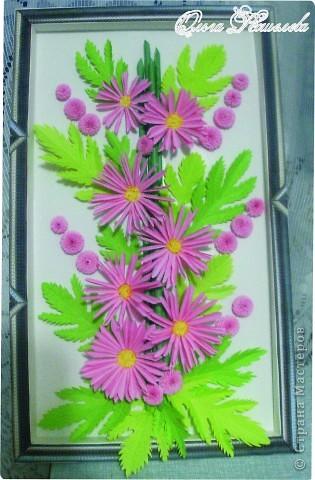 Картина панно рисунок Мастер-класс Квиллинг Розовая композиция и mini МК Картон фото 1