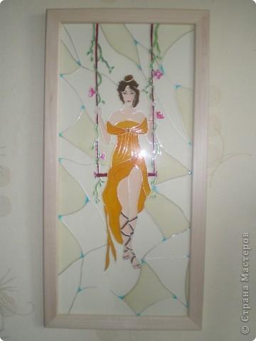 """Витраж Девушка"""", размер 25/50см, фото со вспышкой фото 1"""